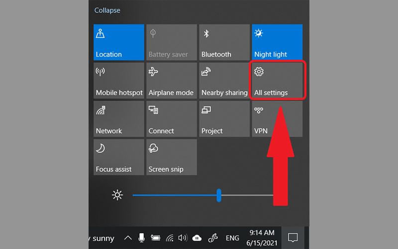 Click chọn All settings