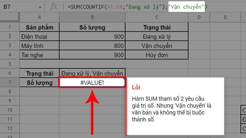 Lỗi #VALUE xuất hiện do