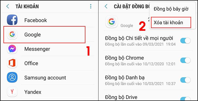 Bước 2: Chọn tài khoản đang được sử dụng > chọn Menu bên góc phải và Xóa tài khoản > Thêm lại tài khoản Google ở trên thiết bị hay thêm khi mở CH Play.