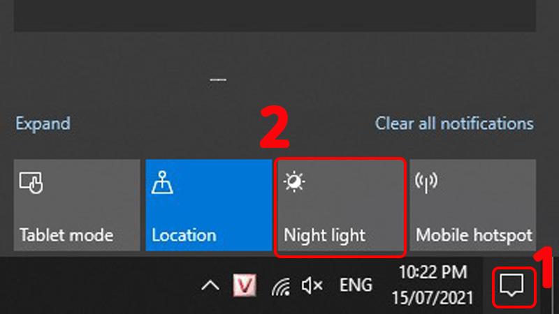 Nhấn chọn vào Night Light