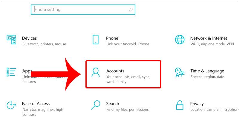 Nhấn vào Accounts