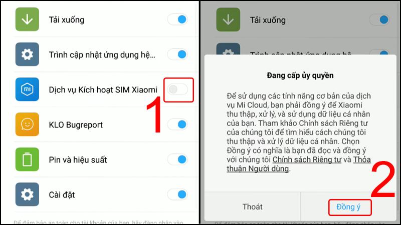 Cấp phép cho dịch vụ SIM Xiaomi