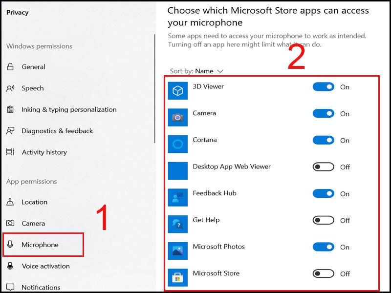 Bật, tắt các ứng dụng mà bạn muốn mở Micro