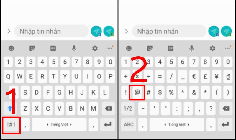 Hướng dẫn cách gõ @ trên điện thoại Android