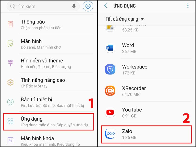 Nhấn vào Ứng dụng và chọn Zalo