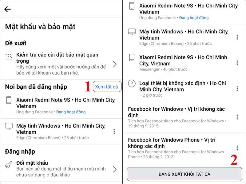 Đăng xuất Facebook khỏi tất cả các thiết bị