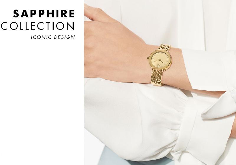 Đồng hồ Movado Sapphire mang thiết kế đơn giản, thanh lịch