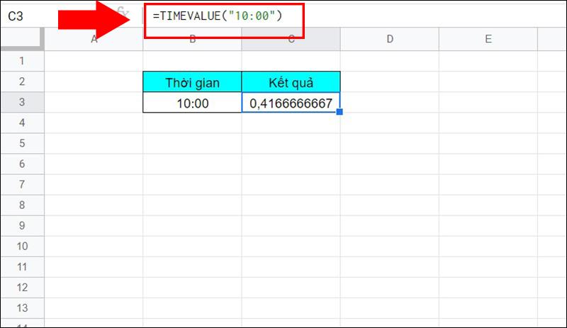 Ví dụ về hàm TIMEVALUE