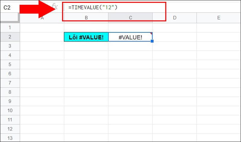 Lỗi #VALUE! trong hàm TIMEVALUE