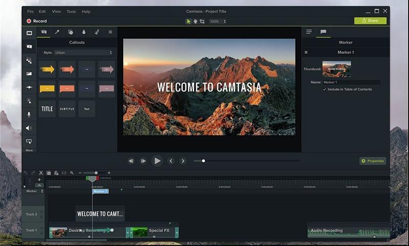Phần mềm quay màn hình và chỉnh sửa video Camtasia Studio