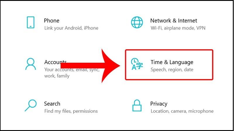 Windows + I để mở Settings > Chọn Time & Language.