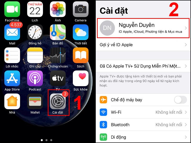 Truy cập vào ID Apple