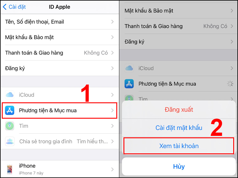 Chọn Xem tài khoản ID Apple
