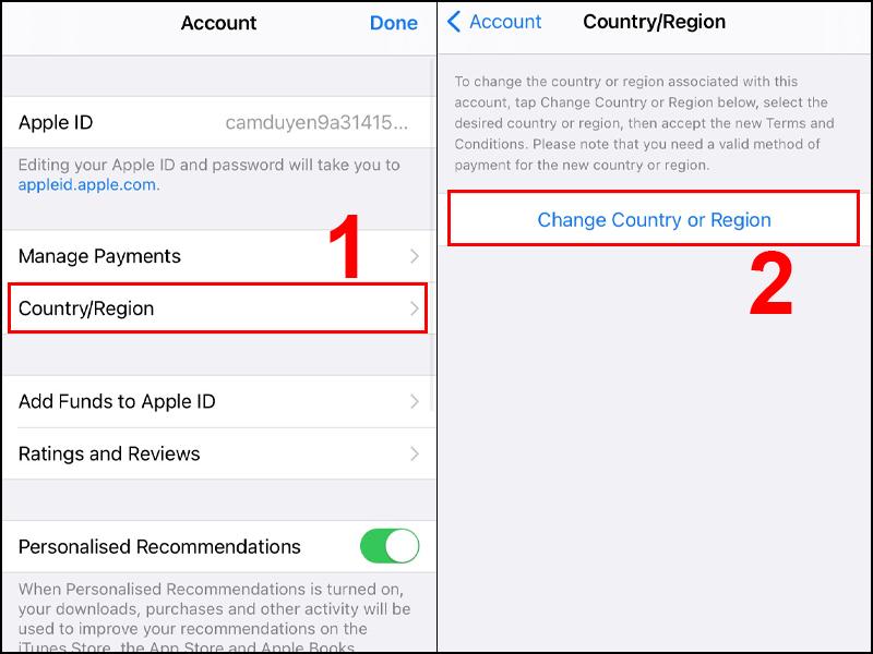 Thực hiện thay đổi quốc gia trên App Store