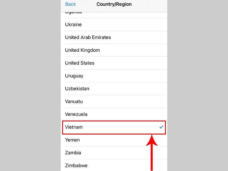 Nhấn chọn Vietnam