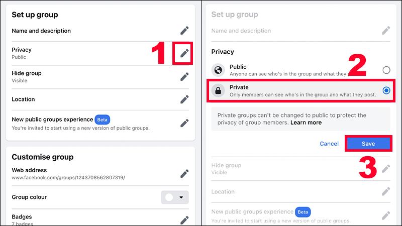 """Bạn chỉnh sửa quyền riêng tư của nhóm từ """"Công khai"""