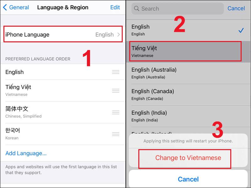 Đổi ngôn ngữ thành Tiếng Việt trên iPhone