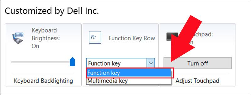 Chọn tùy chỉnh Function Key để bật phím Fn